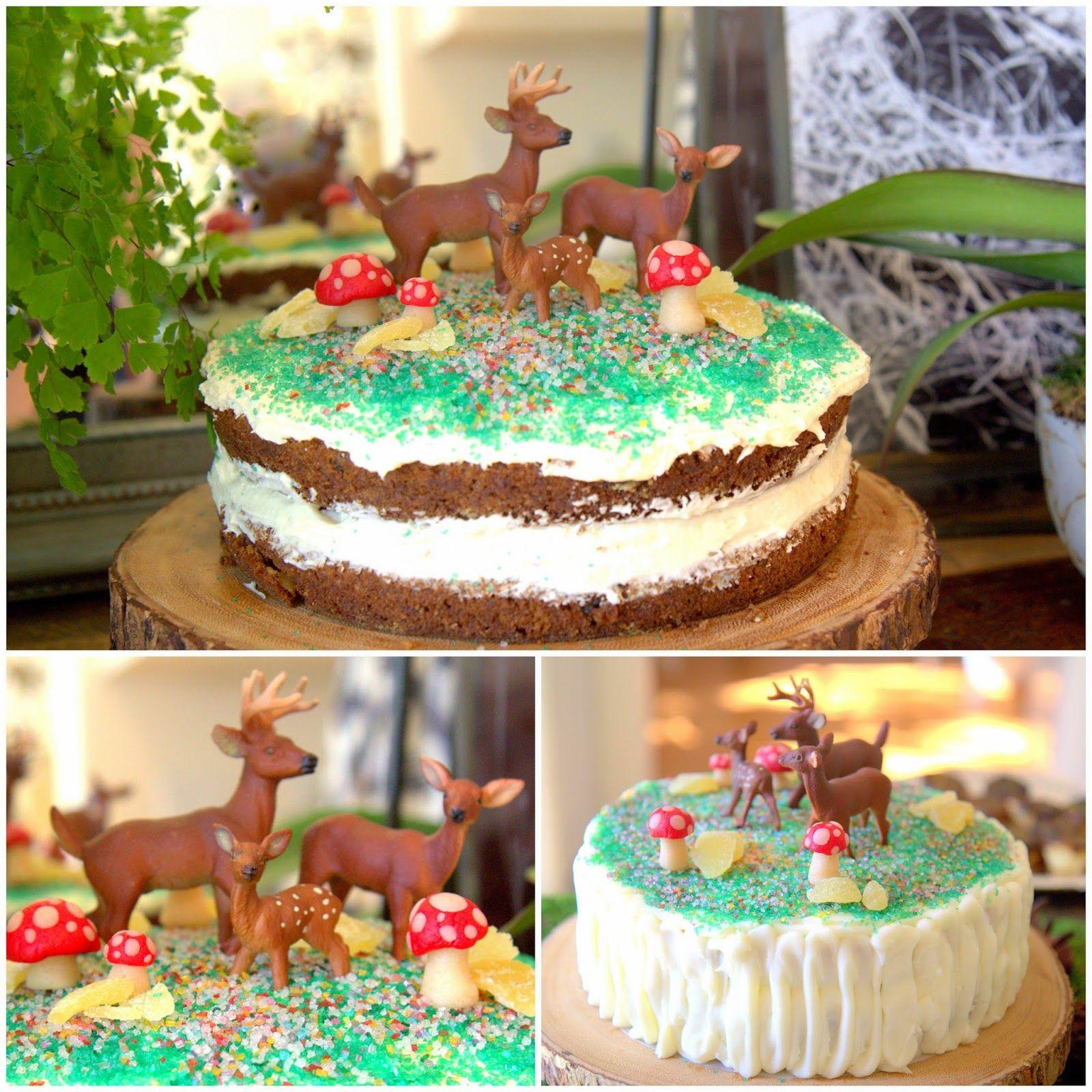 Woodland Party; Deer cakes, marzipan mushrooms, carrot