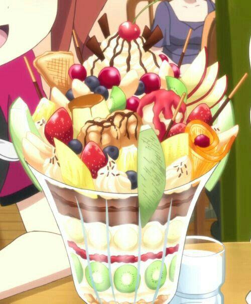 Sundae, ice cream, dessert; Anime Food | Food illustrations, Kawaii food,  Japanese food illustration