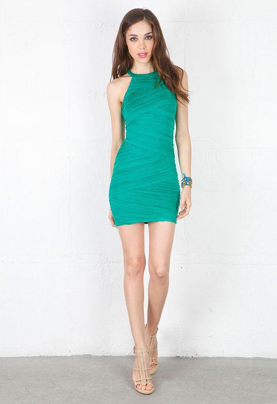 Torn by Ronny Kobo Brooklyn Pleated Dress in Green