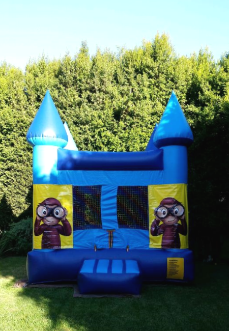 Blue Bouncy Castle Rental With Free Curious George Banners In L A Party Rentals Castle Rental