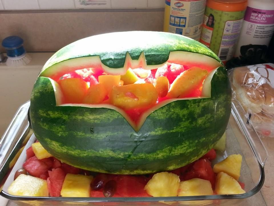 Batman Party Carved Watermelon