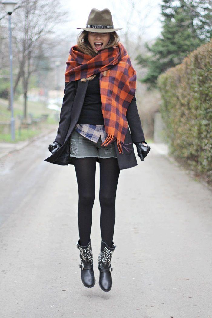jupe jeans chemise carreaux bleu pull noir ou bleu   Fashion Ideas ... ac0f310ed32