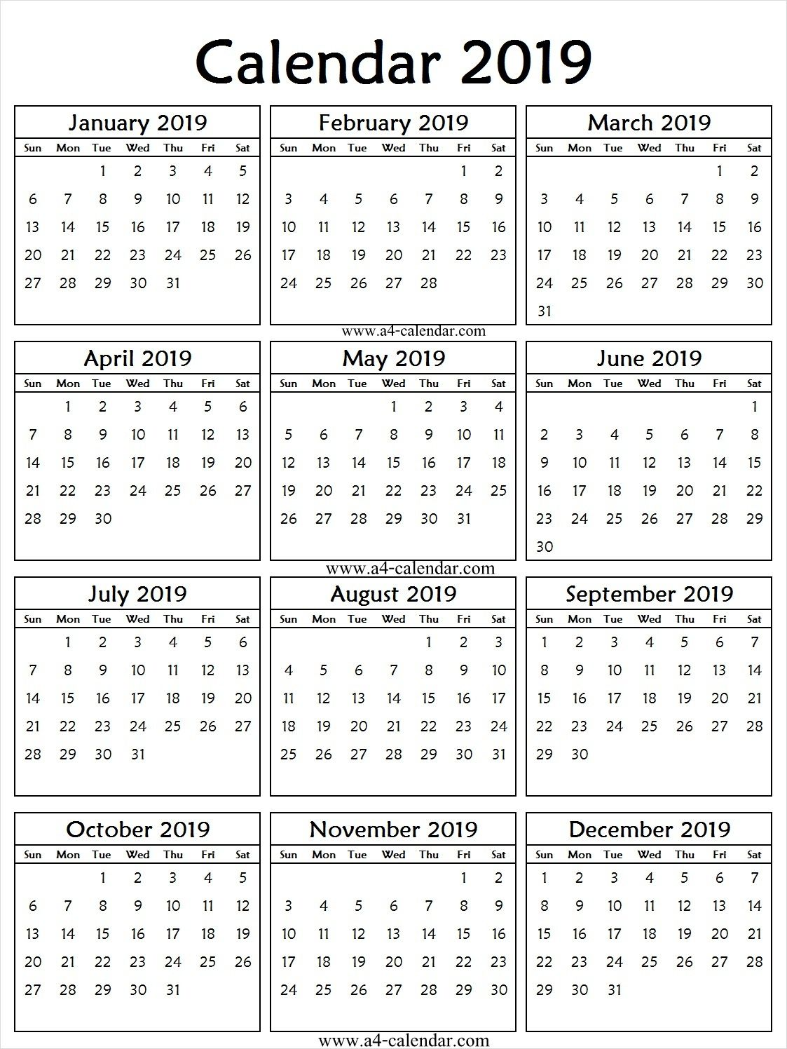 2019 Portrait Calendar Printable 2019 Calendar Template