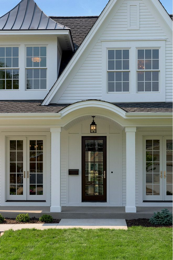 White exterior paint color is Benjamin Moore White The exterior siding is  real redwood California prime  Front door is a mahogany Marvin door  City  Homes  Front door is a mahogany Marvin door    Front doors   Pinterest  . Painting A House Exterior White. Home Design Ideas