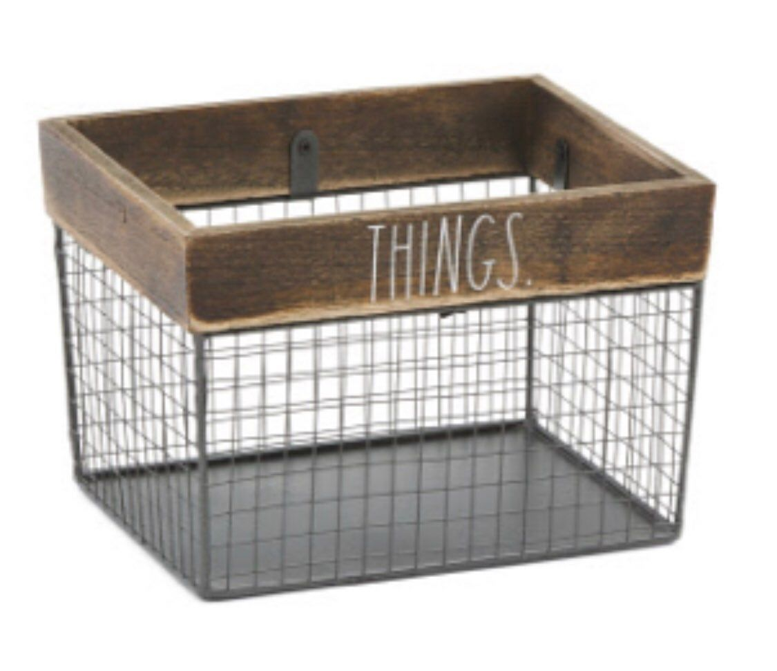 New Rae Dunn Wire Wood Things Storage Basket Dimensions 9 75 X