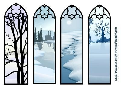Winter Bookmarks on Craftsuprint designed by Sheila Wilks - Church Window Bookmarks Winter Scene - Now available for download!