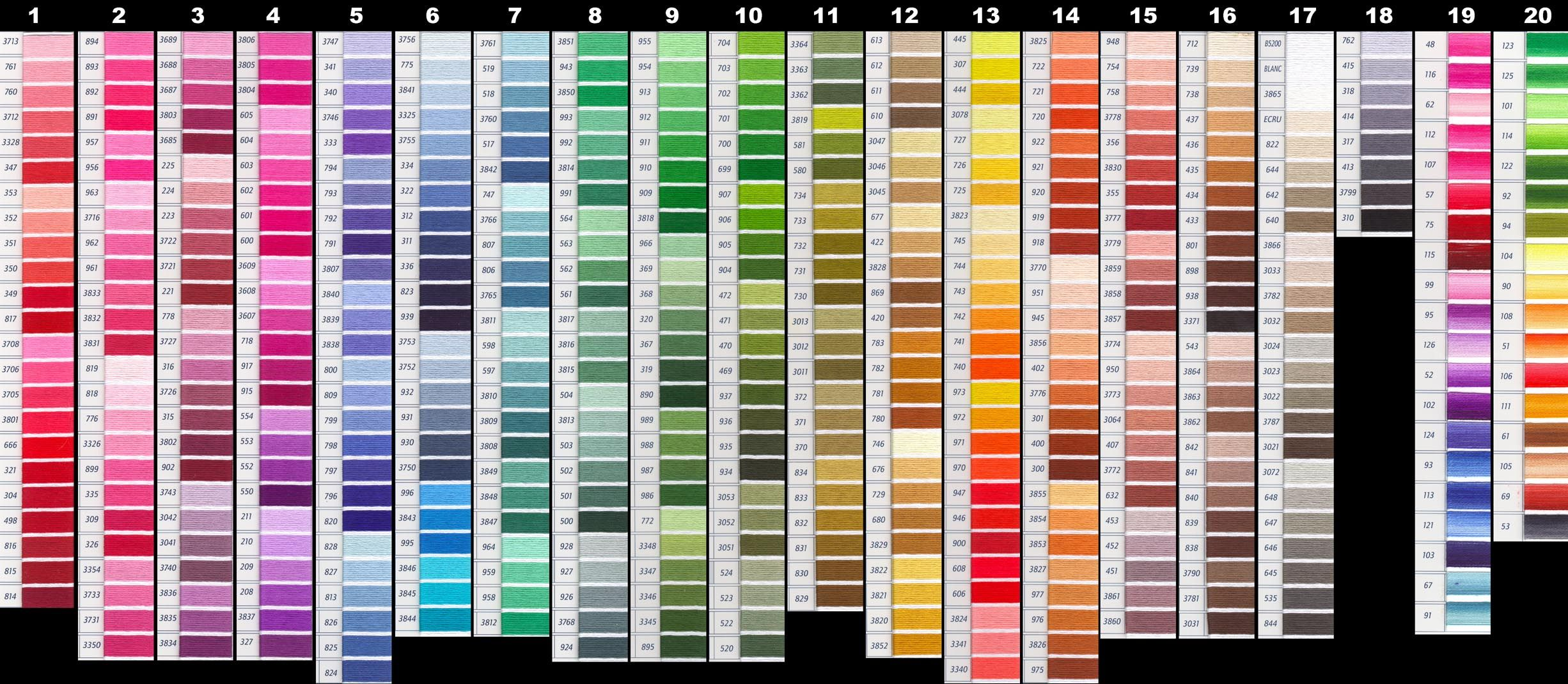 Suggested color gradation for the gobbi dmc floss colour chart suggested color gradation for the gobbi nvjuhfo Image collections