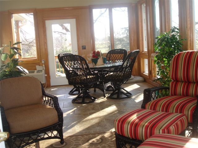 This beautiful sunroom provides the best of all seasons.