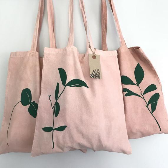 Bolso Tote de hoja rosada teñido a mano en bolsa de playa de algodón orgánico de aguacate natural