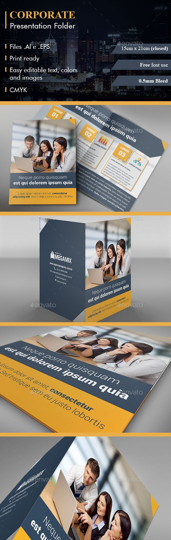 Presentation Folder Corporate Presentation Folder Presentation Business Card Template Design