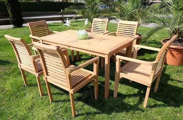 Edle Teak Gartengarnitur Tisch Mit 6 Sessel Holz Sitzgr
