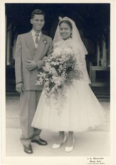 "Newlyweds found photo ~ from the person who posted this photo: The only information I have is ""J.A. Mauricette, Photo Arts, 184 Eastern Main Road, Barataria"" which leads me to believe it was taken in Louisiana. Possibly 1950s or early '60s."