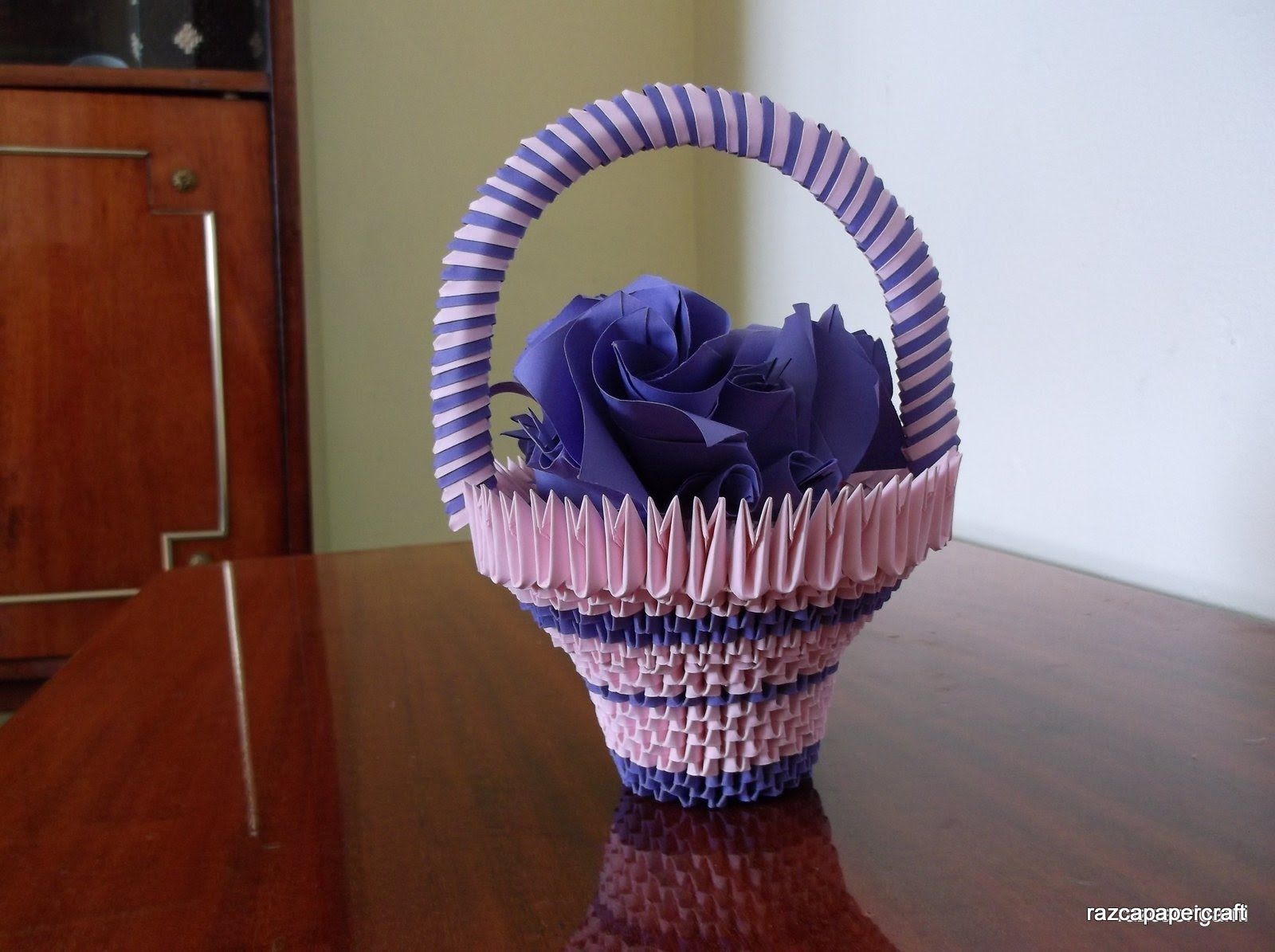 How To Make 3d Origami Bascket With Flowers Things To Make And Do