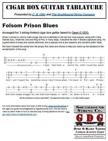 Folsom Prison Blues by Johnny Cash - Cigar Box Guitar Tablature PDF ...
