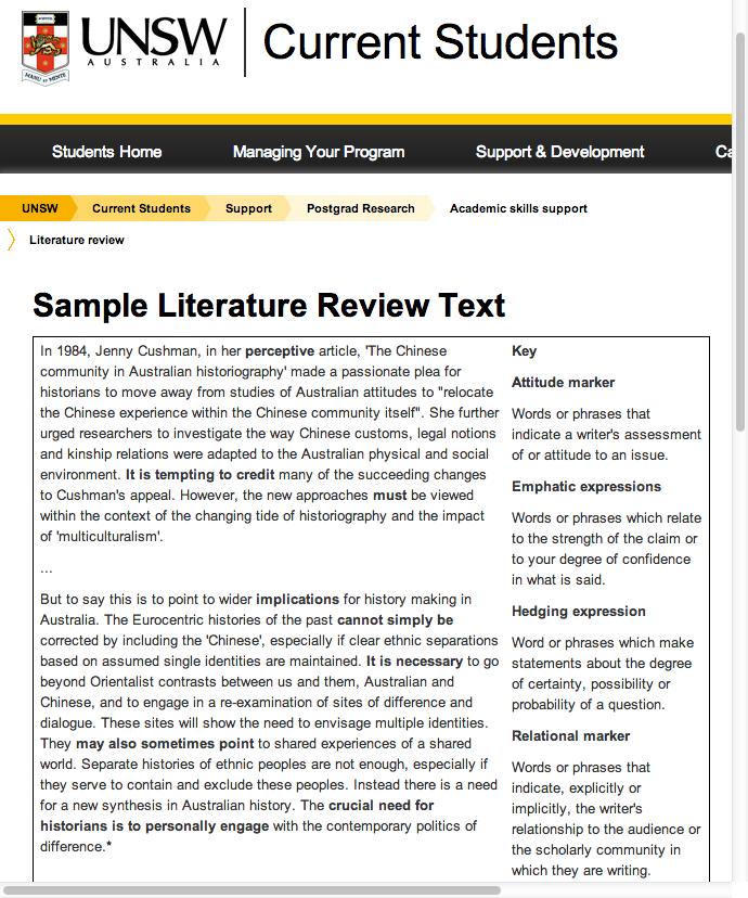 literature review samples