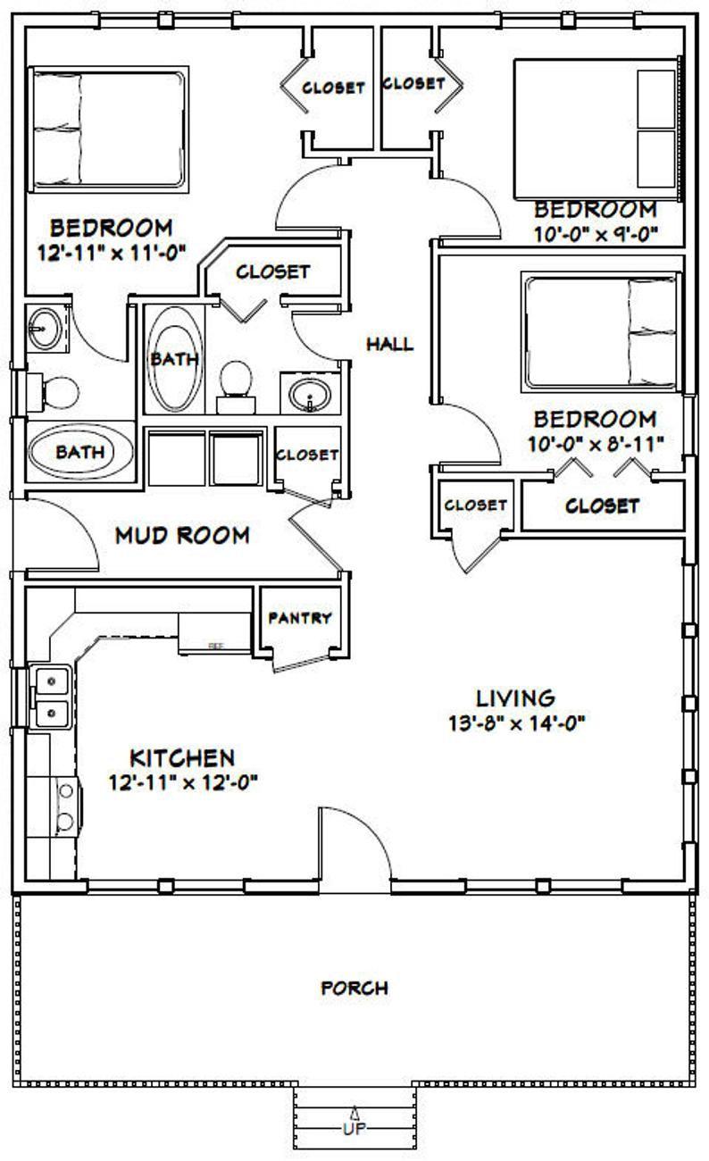 28x36 House 3 Bedroom 2 Bath 1008 Sq Ft Pdf Floor Etsy In 2020 Small House Floor Plans Cabin Floor Plans Small House Plans