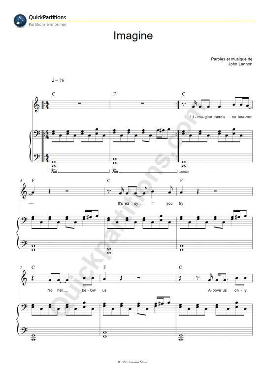 Imagine Piano Sheet Music John Lennon Piano Sheet Music And