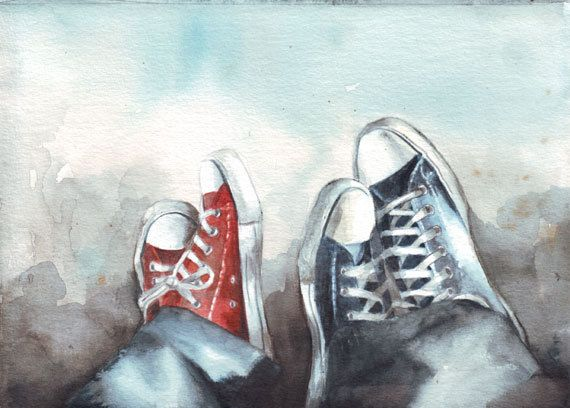Original Watercolor Art Converse Couple Painting By Helgamcl