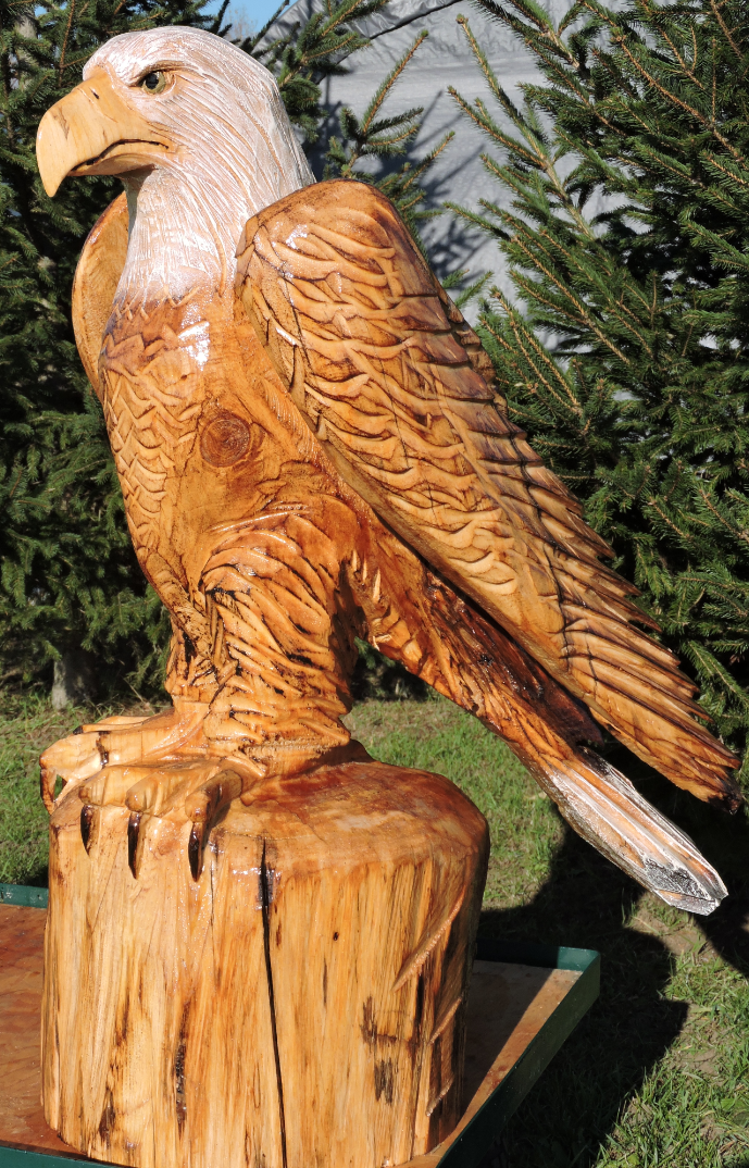 Eagle bald chainsaw carving art yard