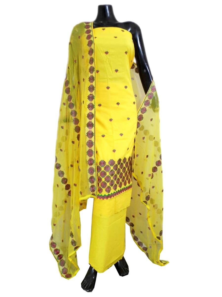 Unstitched Phulkari Suit Piece Cotton Silk-Yellow