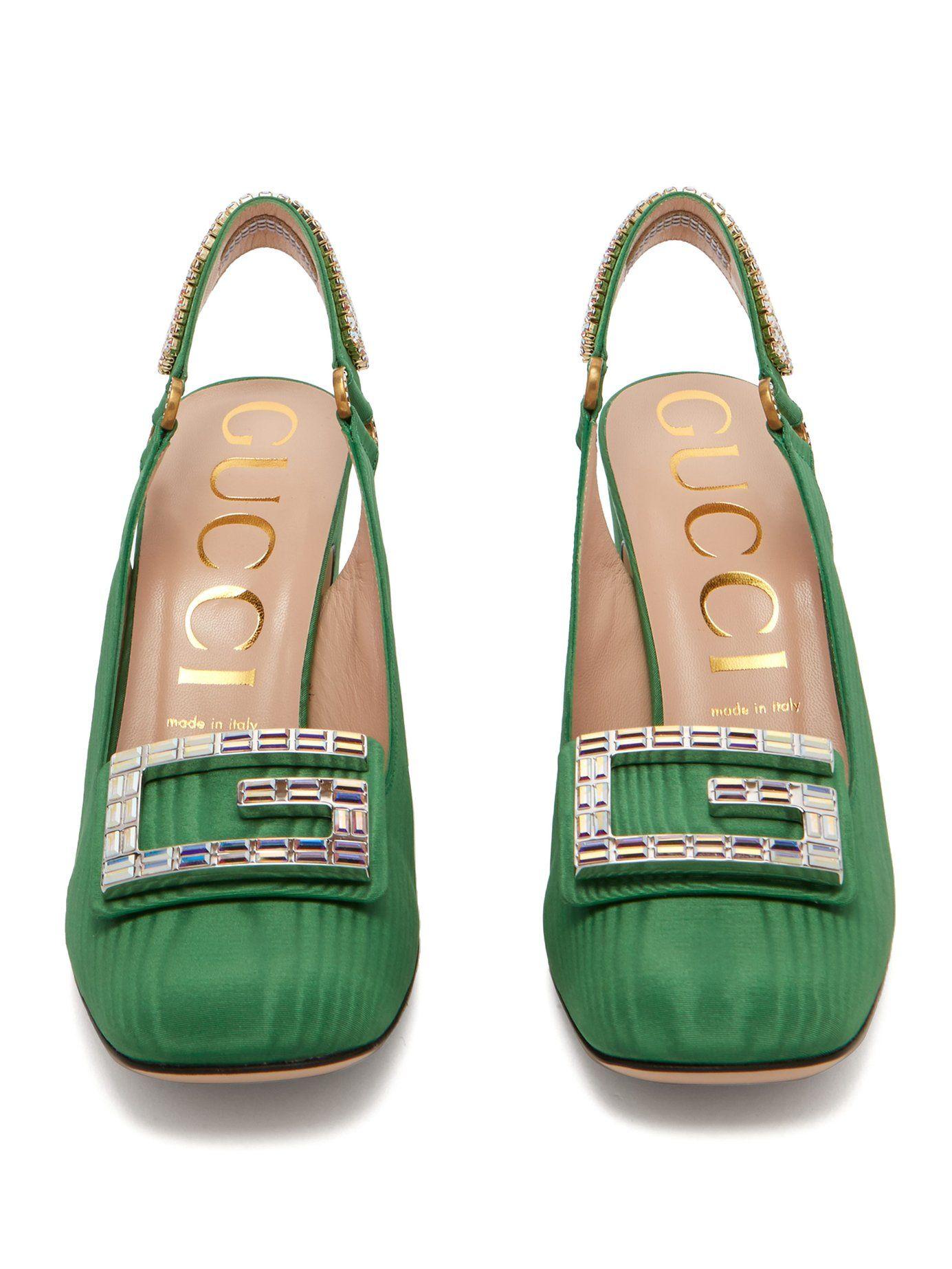84107a3fca Madelyn crystal-embellished moiré slingback pumps | Gucci |  MATCHESFASHION.COM US