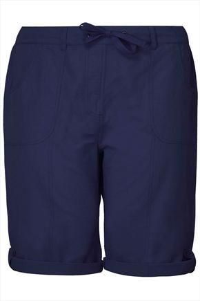 Navy+Blue+Cool+Cotton+Roll-Up+Shorts+47363