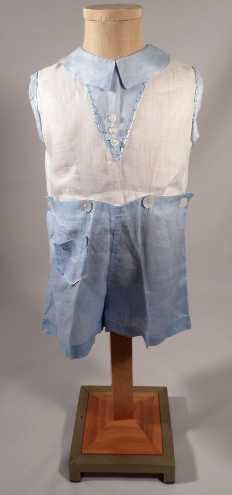 Antique 1920s Boys Blue/White Imported Linen 2 Pc. Romper Outfit, Hand Embroider