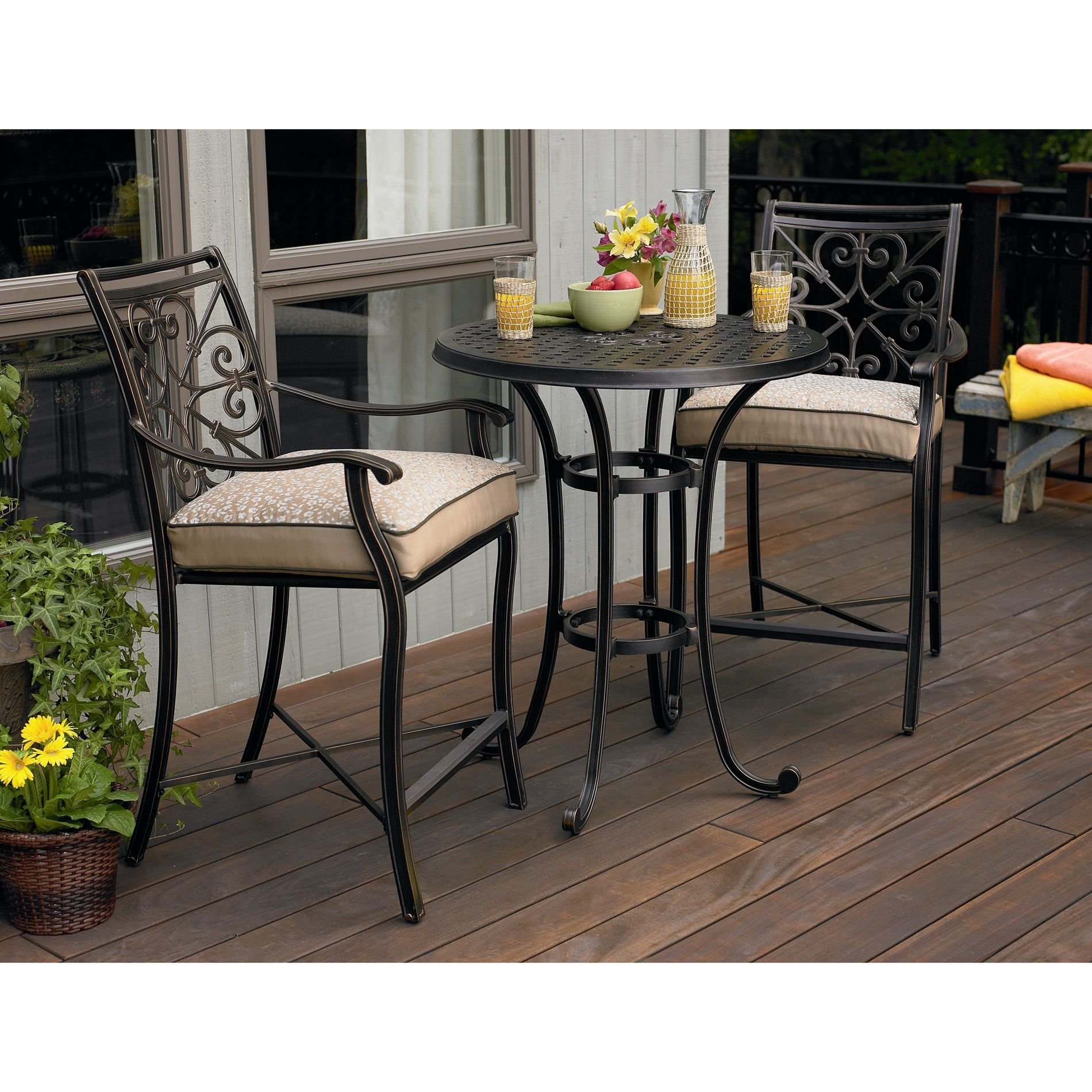 Wrought Iron Glass Top Bistro Table Set | http://lachpage.com ...