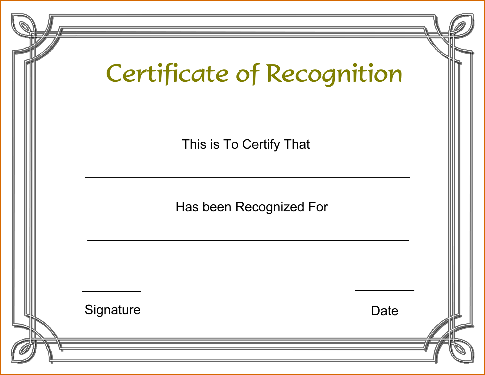 Template For Recognition Certificate Certificate Of Recognition Template Certificate Of Achievement Template Free Certificate Templates