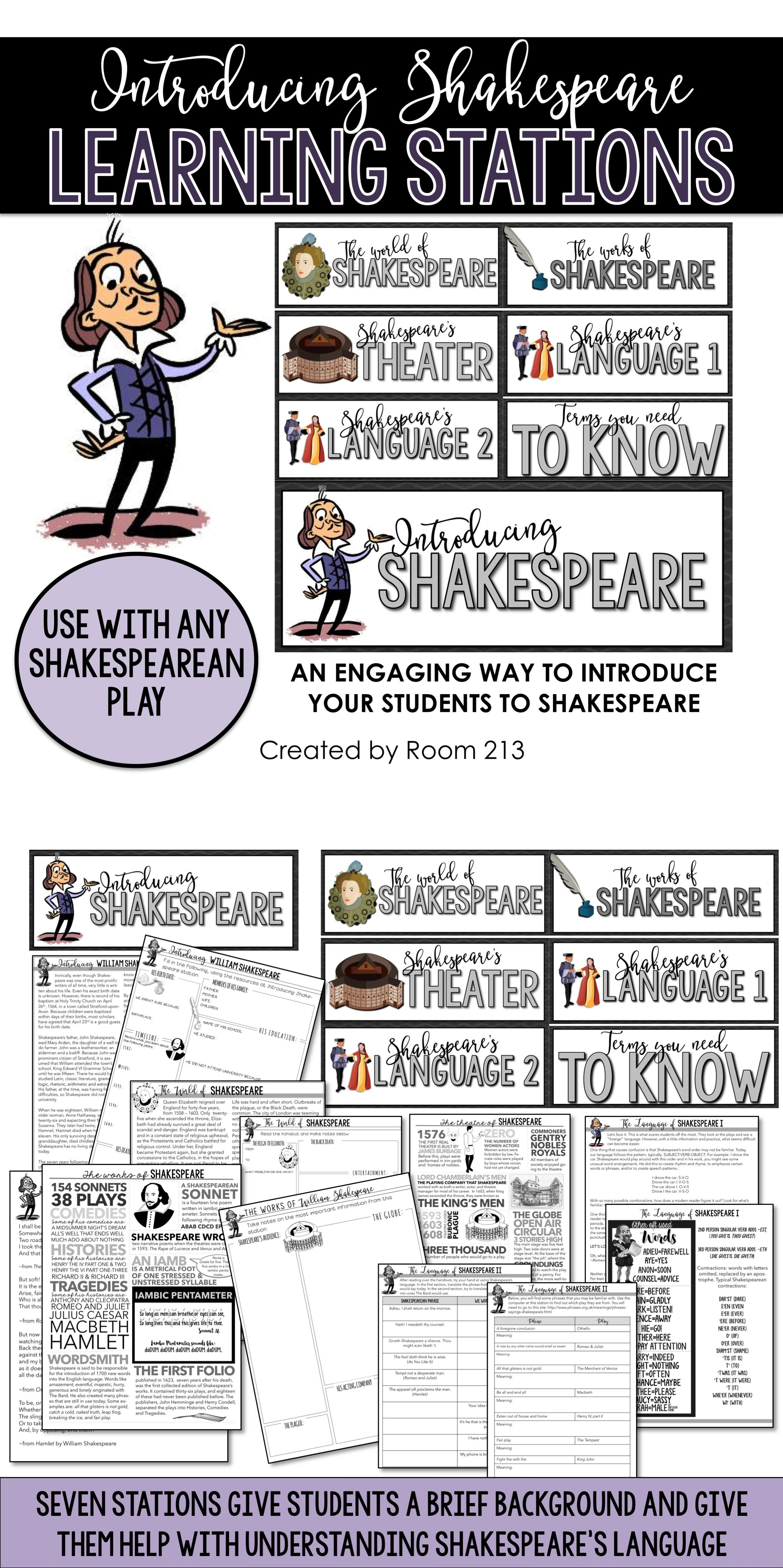 Introduction To Shakespeare Learning Stations Learning Stations Teaching Shakespeare Shakespeare Lessons