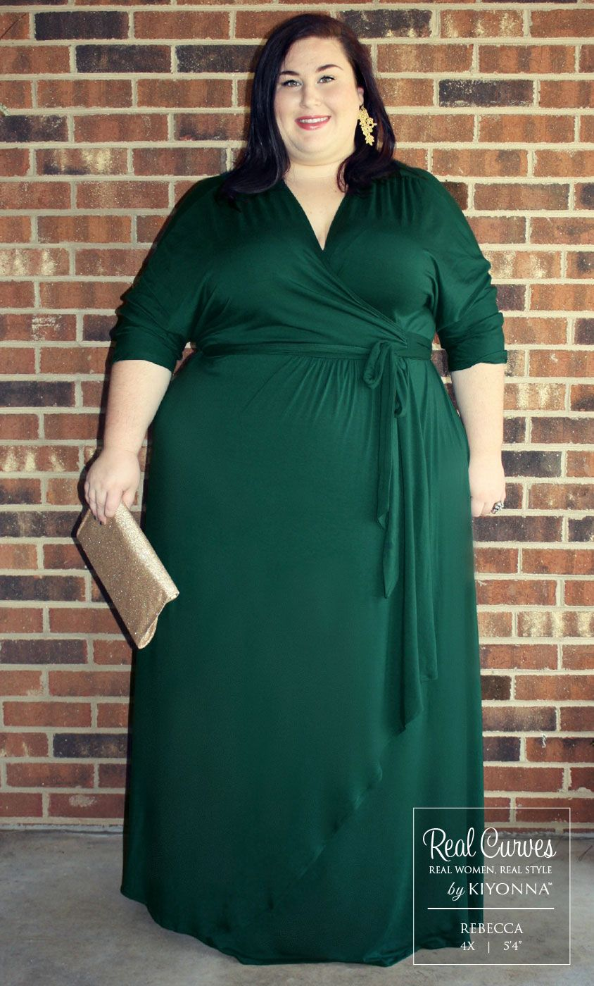 c629cfcb787 ... plus size Wrapped in Romance Dress. The elegant gold accessories really  complemented the green hue taking the entire look up a notch. www.kiyonna.com  ...
