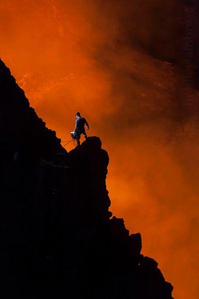 on the edge of a lava lake inside Marum VOLCANO in Vanuatu,shot Bradley Ambrose