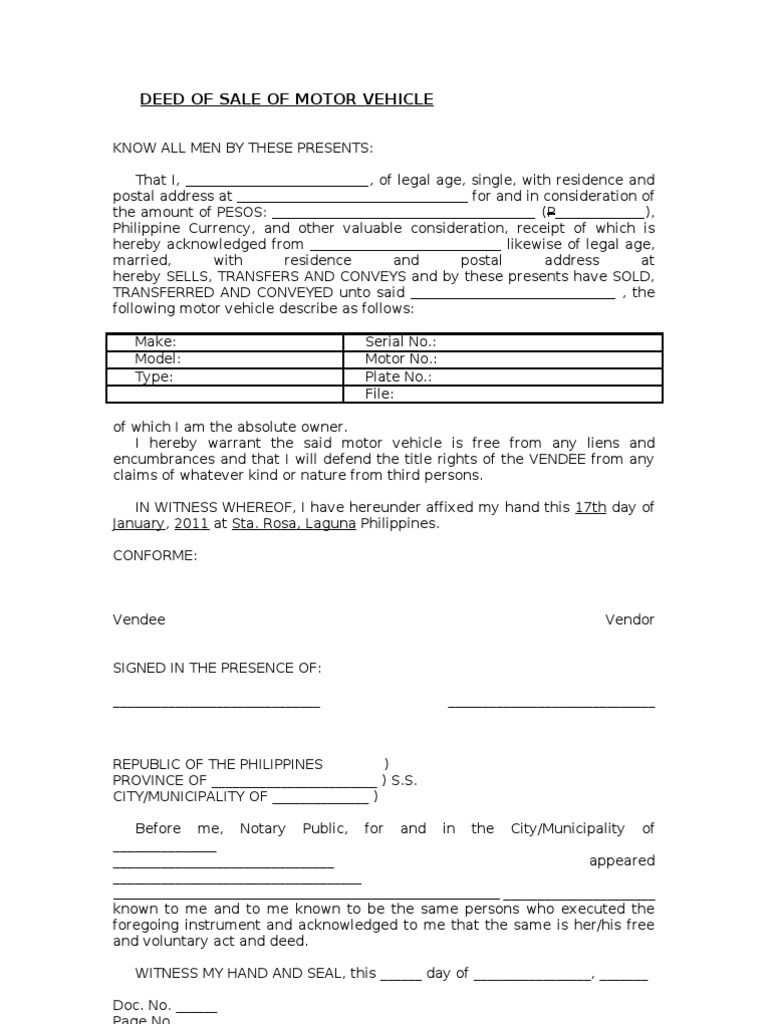 Image result for deed of sale format with images motor
