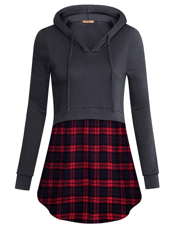 Women's Clothing, Hoodies & Sweatshirts, Women's Plaid Hem