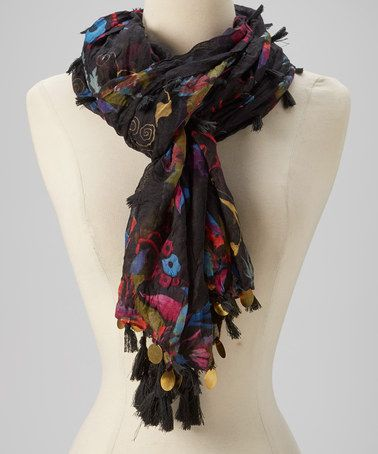 Take a look at this Black Floral Fringe Scarf by TROO on #zulily today! $10 !!