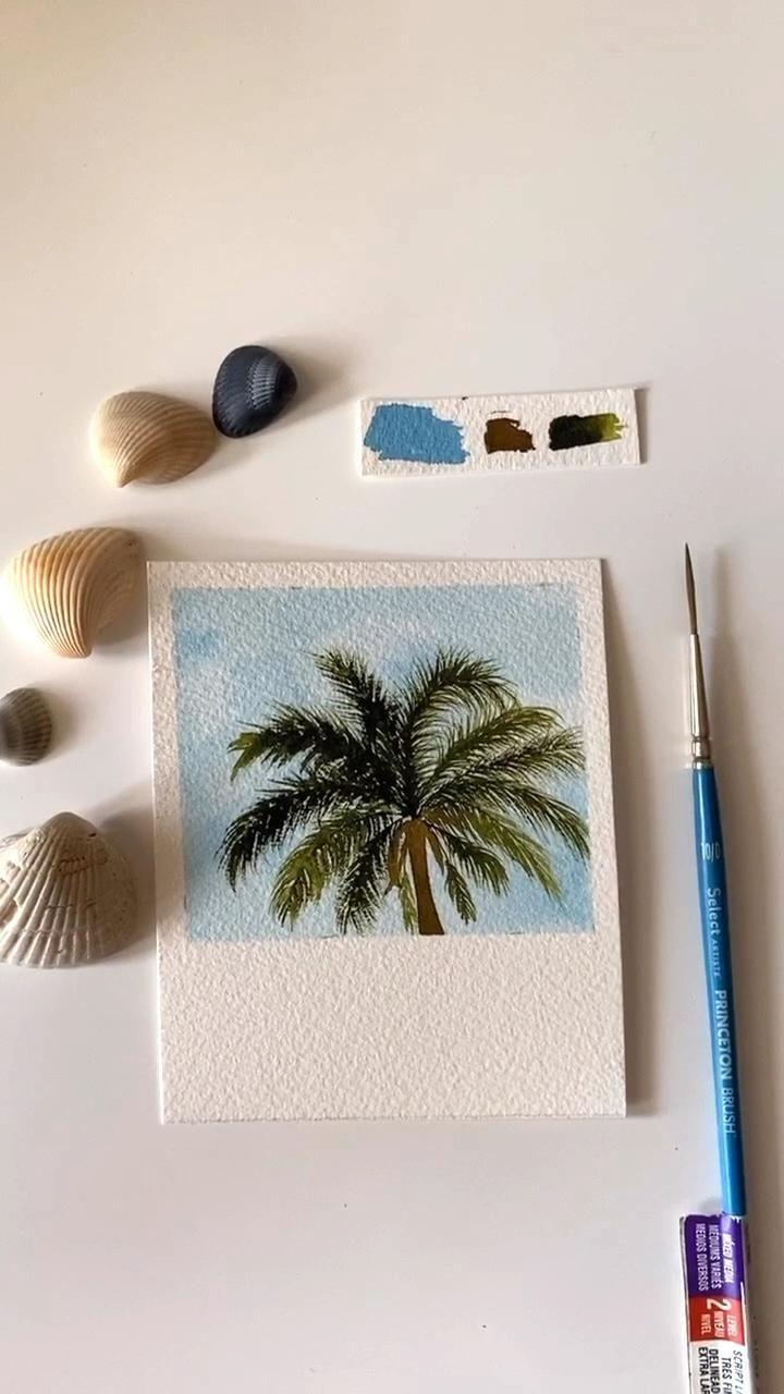 Watercolor palm tree Polaroid