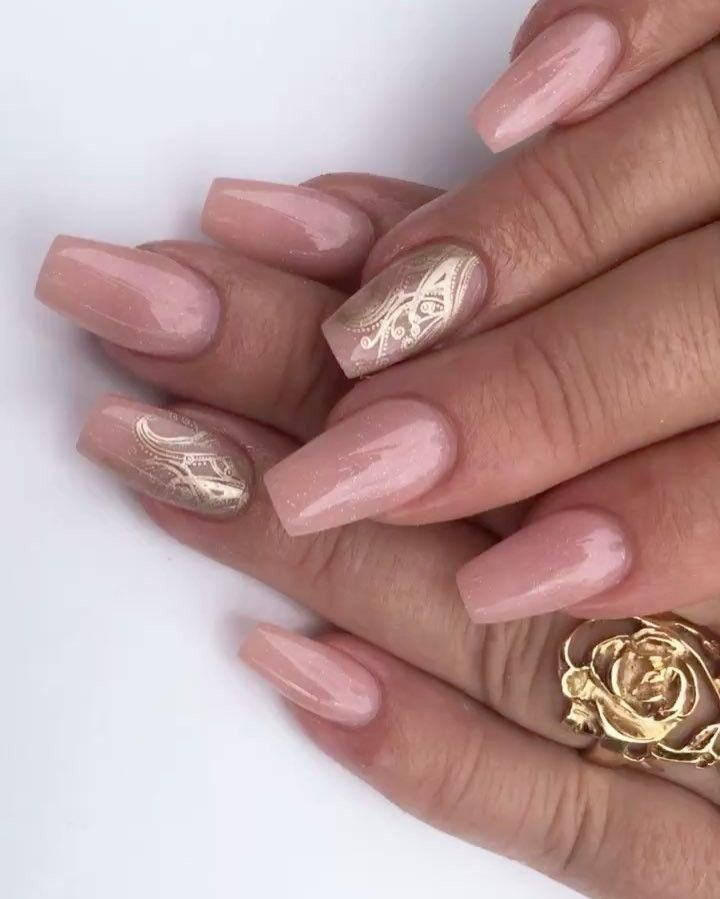 ShimmeryNude with Gold Stamping... Sculptured Acrylic with Young ...