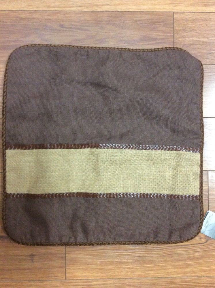 Details About CASA MOBILE PILLOW COVER NEW 40 SQUARE BROWN BURLAP Awesome Jute Pillow Cover With Braided Trim