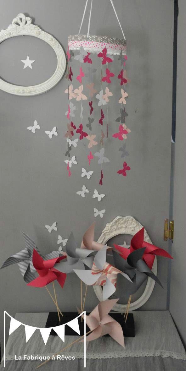 mobile papillon rose podré gris rose fuchsia décoration chambre ...