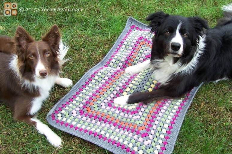 FREE crochet pattern for a Granny Rectangle Dog Mat by Crochet Again ...