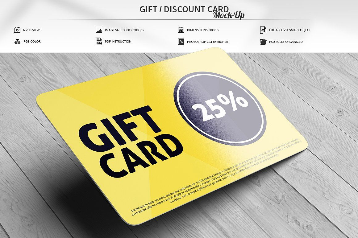 Gift Discount Card Mock Up Discount Card Cards Business Card