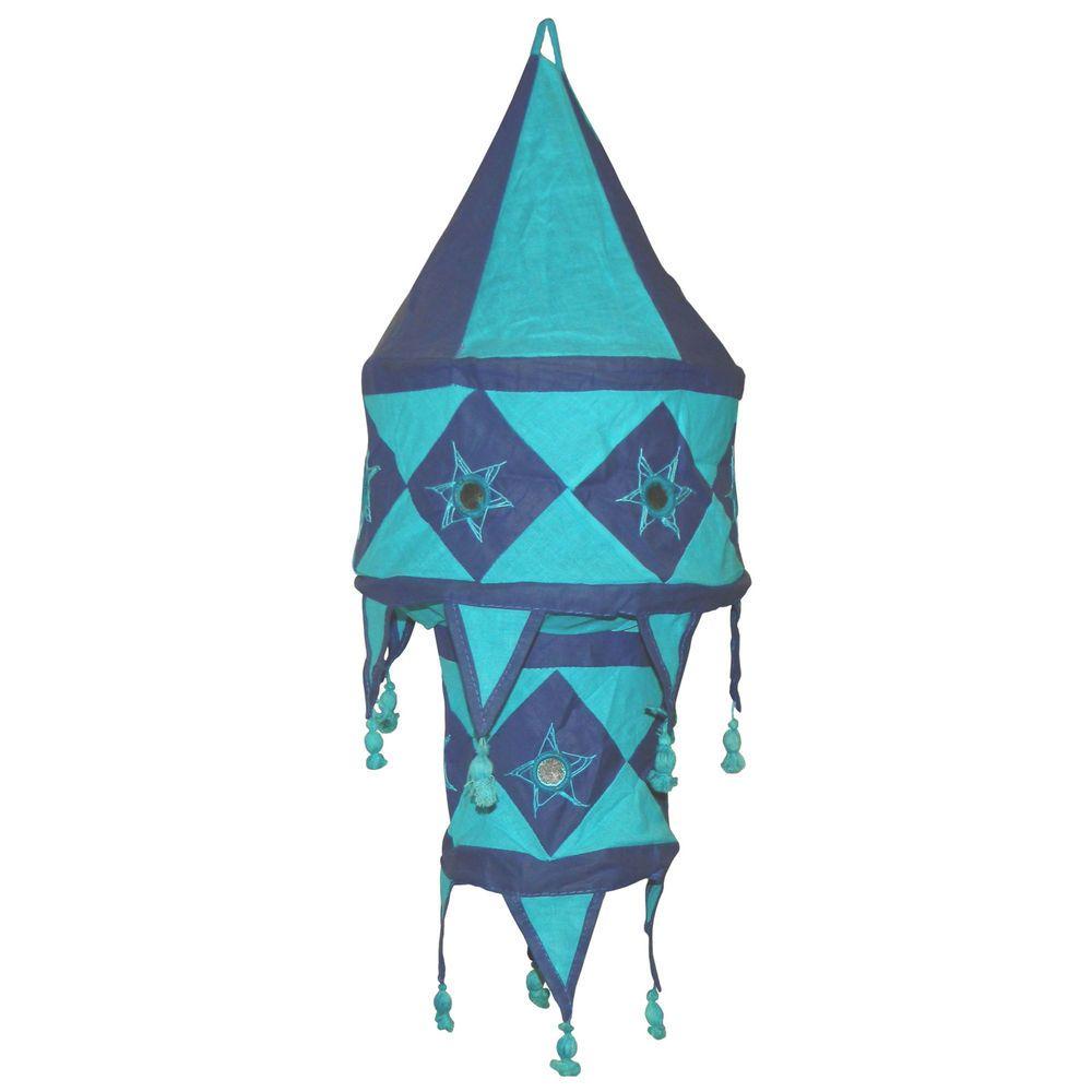 Indischer Lampenschirm blau - türkis 60 cm Baumwolle Dekolampe Orient Hängelampe