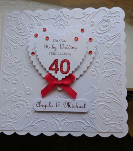 Luxury Personalised Ruby Wedding 40th Anniversary Card Hand Made Ebay Anniversary Cards Handmade 1st Anniversary Cards Anniversary Cards