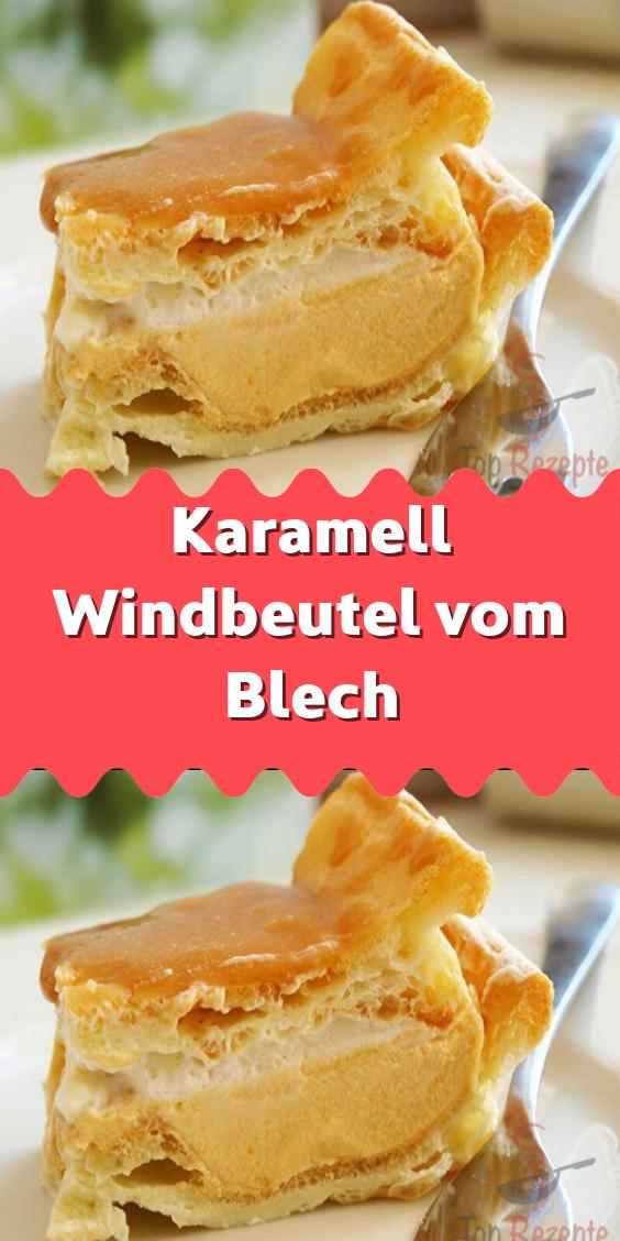 Karamell Windbeutel vom Blech