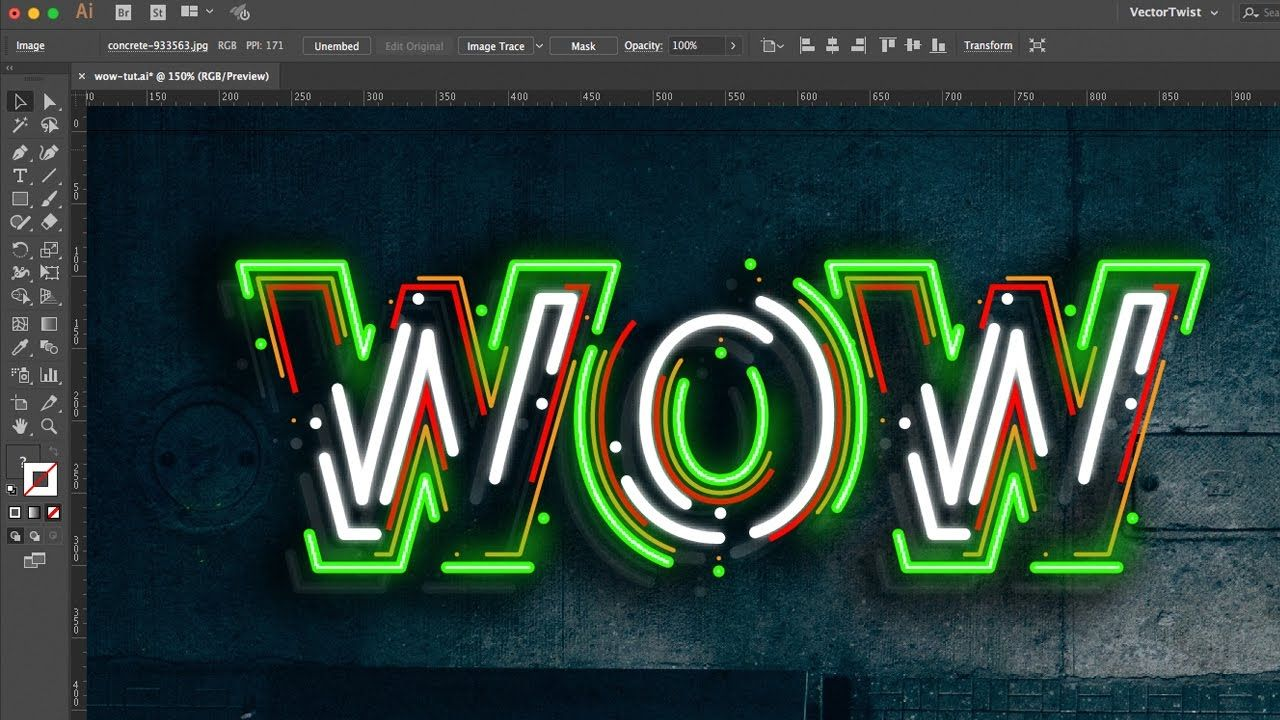 How To Make A Neon Text Effect In Illustrator By Vectortwist Graphic Design Student Illustrator Tutorials Learning Design