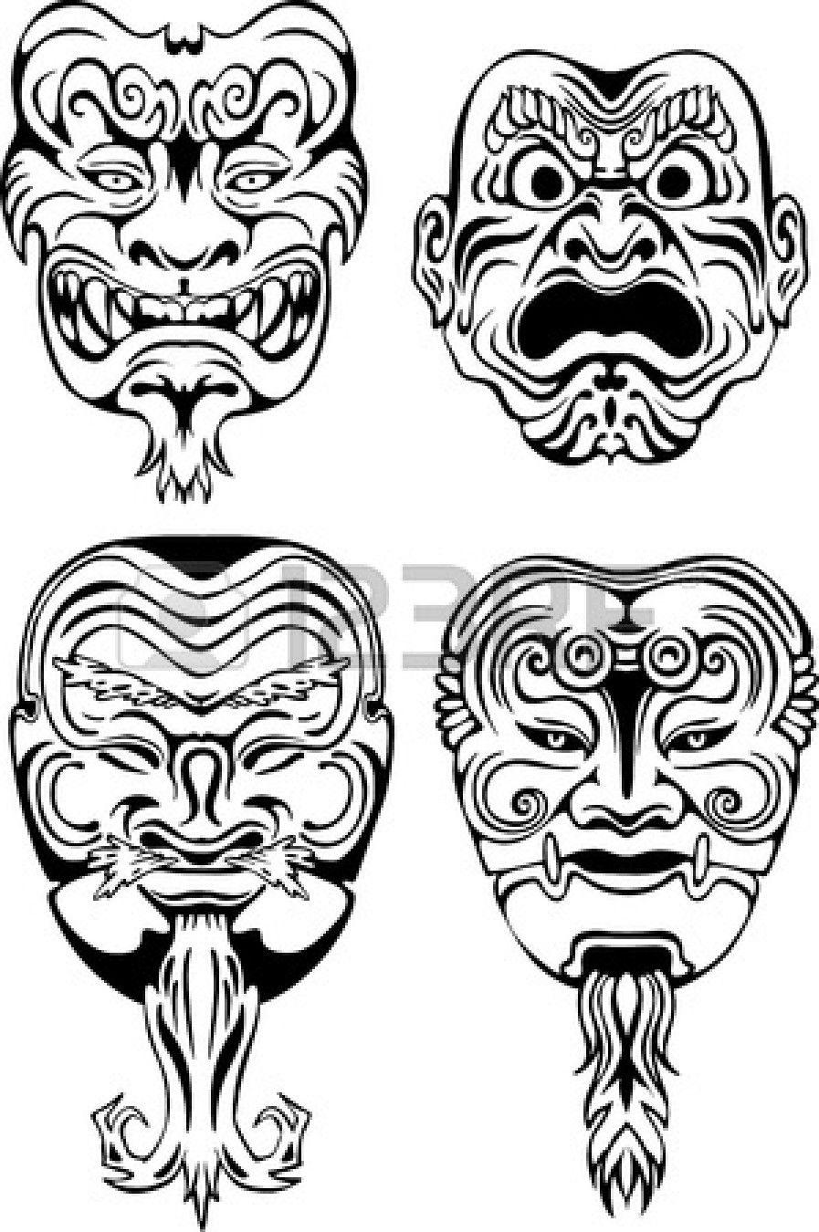 japanese tsure noh theatrical masks set of black and. Black Bedroom Furniture Sets. Home Design Ideas