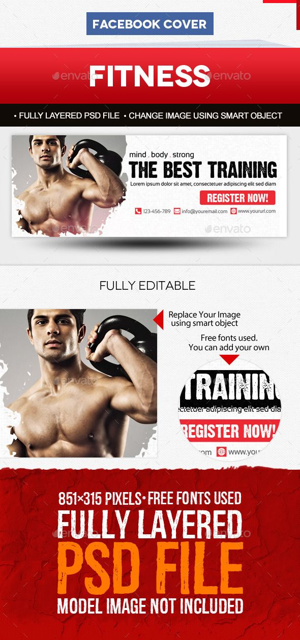 Fitness Facebook Cover Template Facebook cover template - fitness templates free