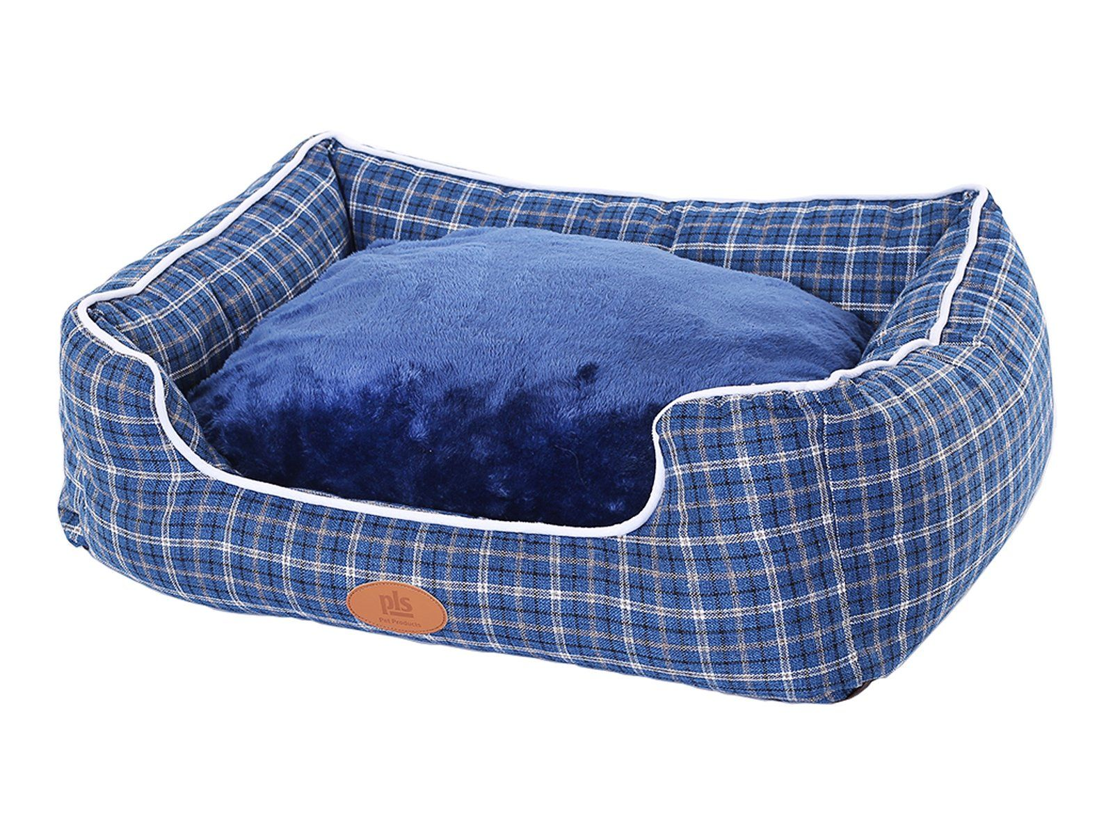 New Pls Birdsong Trellis Bolster Plaid Large Dog Bed Pet Bed Cat Bed Blue Large Removable Cover Completely Washable Do Dog Bed Dog Couch Bed Washable Dog Bed Pet bed with removable cover