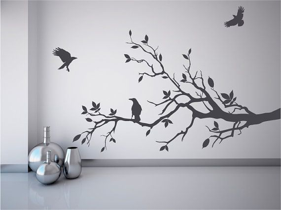 Black Crows And Winter Branches Wall Decals Halloween Decor Etsy