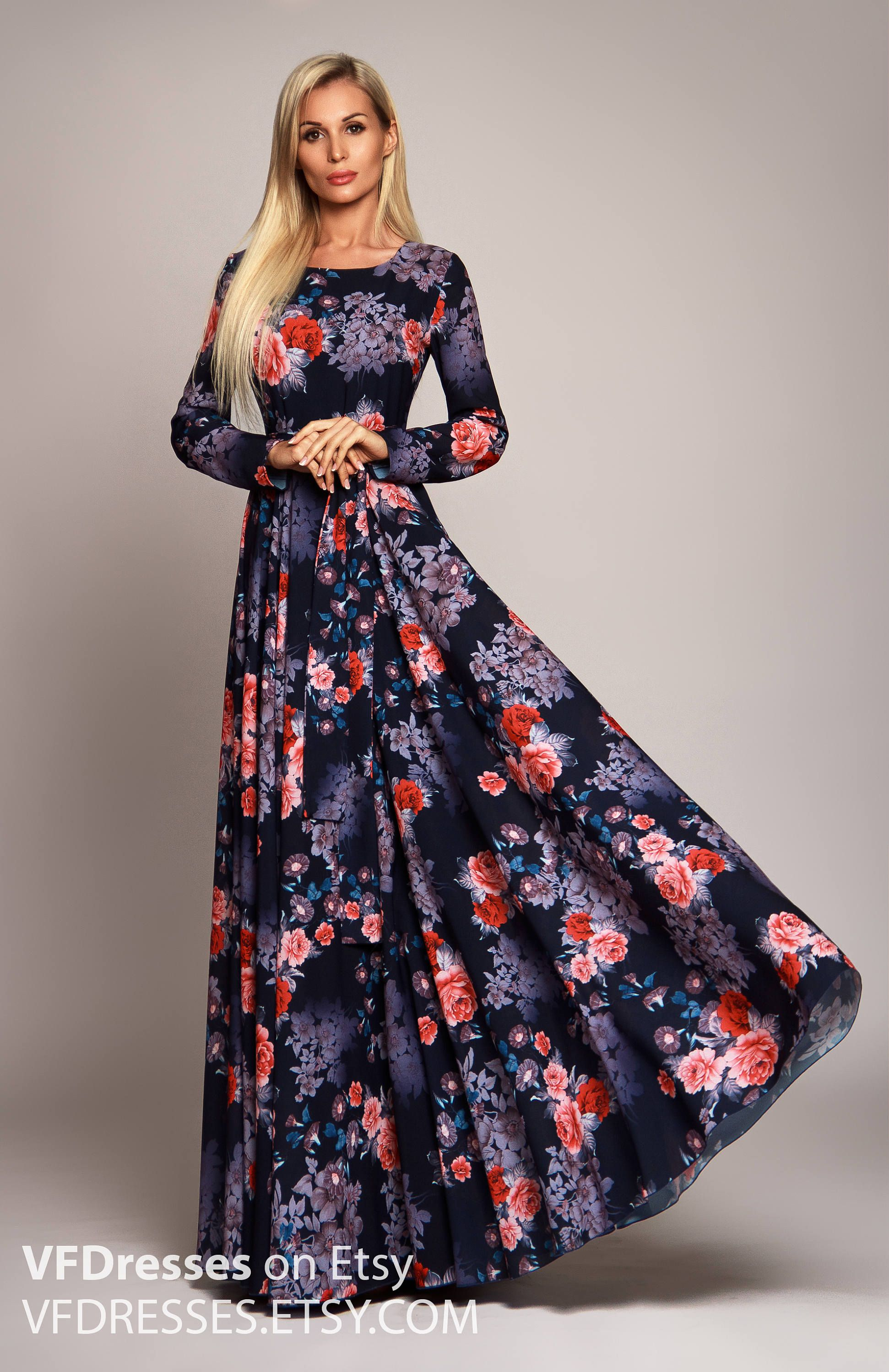 039b8339a098 Dark blue Floral maxi dress long sleeve dress summer dress | Zzzz in ...
